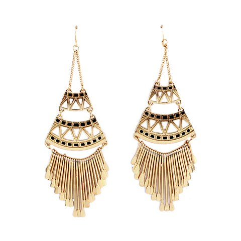 Beautiful Black and Gold Chandelier Earrings