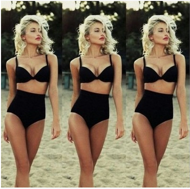 Sexy Black High Waist Swimsuit