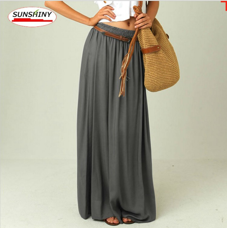 grey pleated chiffon maxi skirt on luulla