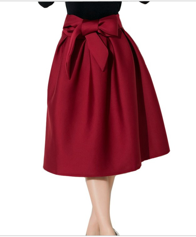 Pleated Midi Skirt with Bow