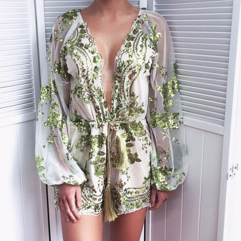 Deep V Neck Sexy Lace Sequin Tassel Belt Romper