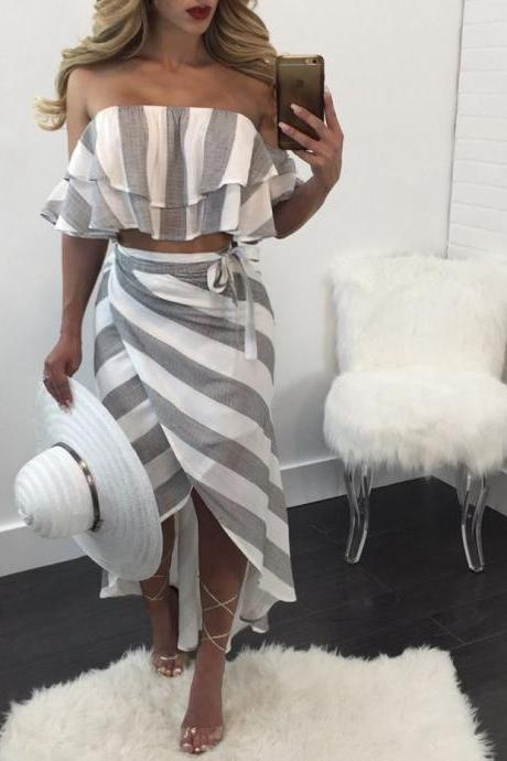 Grey and White Striped Two-Piece Dress Featuring Ruffled Off-The-Shoulder Cropped Top and Midi Wrap Skirt