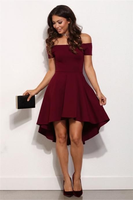Summer Off Shoulder Elegant Red Midi Dress