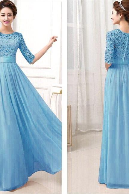 Sky Blue Floor Length Lace and Chiffon Long Dress