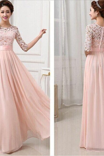 Pink Lace and Chiffon Floor Length Dress