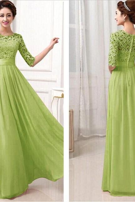 Green Lace and Chiffon Floor Length Long Dress