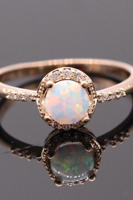 Beautiful Opal Zircon Golden Ring for Women