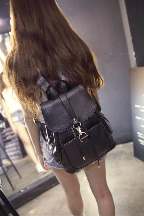 Black PU Leather Backpack Office and School Bag for Women