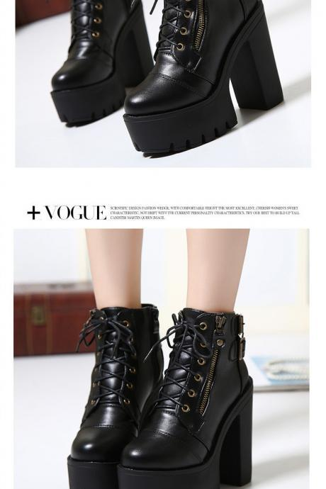 Black Lace up Chunky Heel Fashion Boots