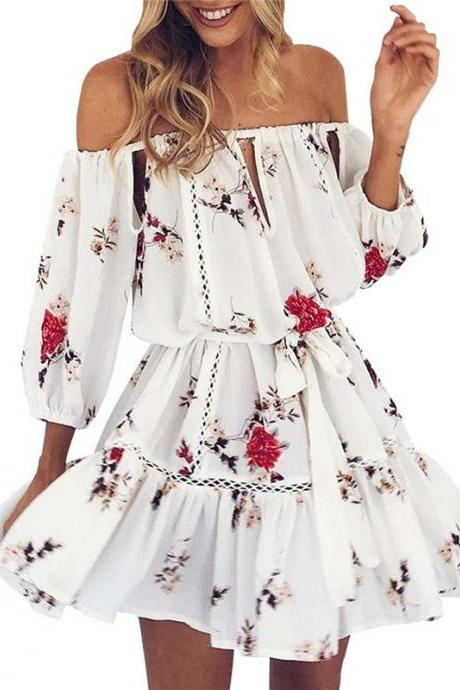 Off Shoulder White Casual Summer Dress