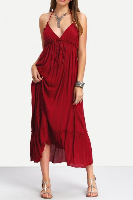 V Neck Backless Ruffled Long Dress