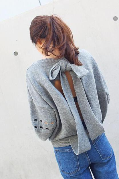 Cute Grey Back Bow knot Long Sleeve Top