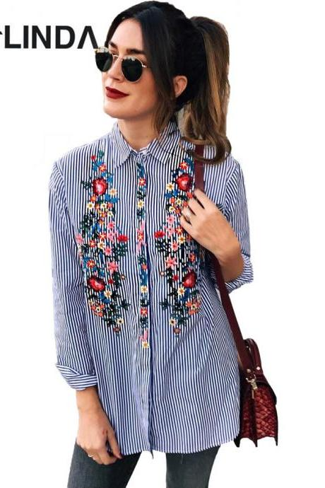 Casual Floral Embroidery Long Sleeve Blouse