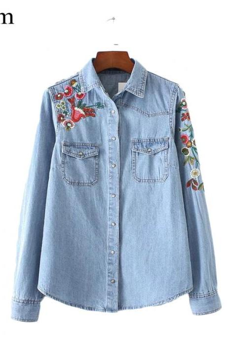 Floral Embroidery Denim Top