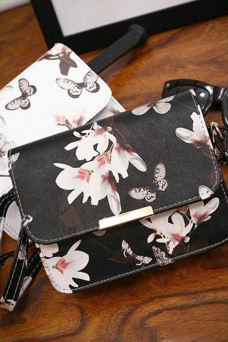 Women Floral Butterfly Leather Bag in Black and White