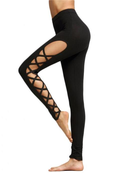 Black Lace up Fitness Leggings