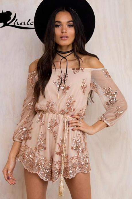 Long Sleeve Off Shoulder Sequined Romper