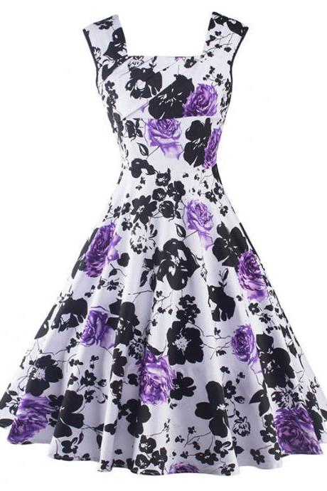 Sleeveless Vintage Retro Floral Print Party Dress