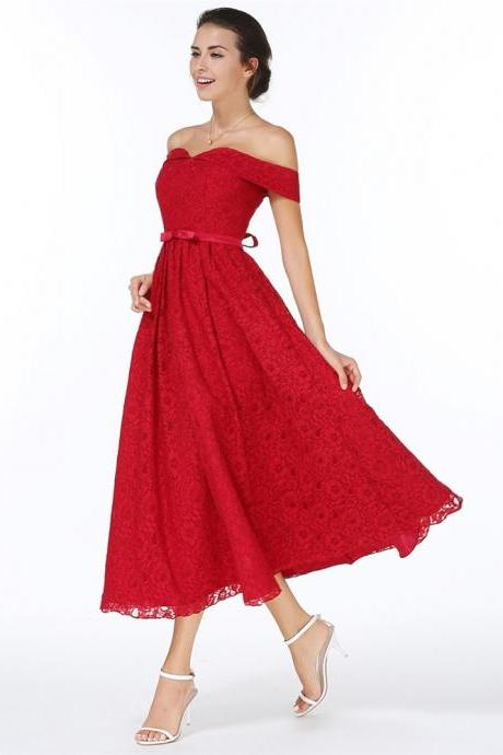 Beautiful Off Shoulder Red Lace Evening Party Dress