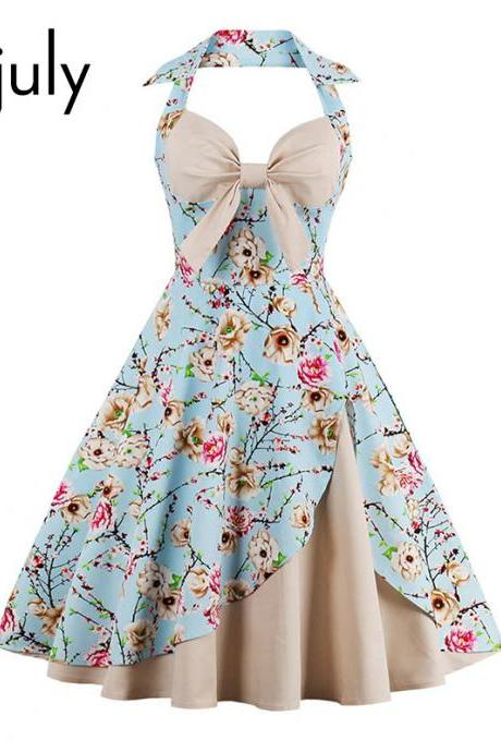 Sleeveless Vintage Retro Printed A Line Party Dress