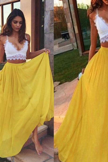 Yellow Chiffon Maxi Skirt