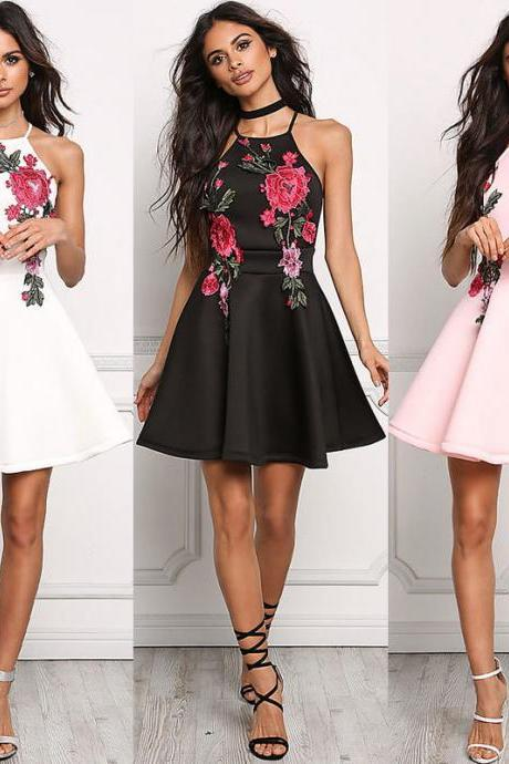 Stylish Floral Embroidery Short Dresses