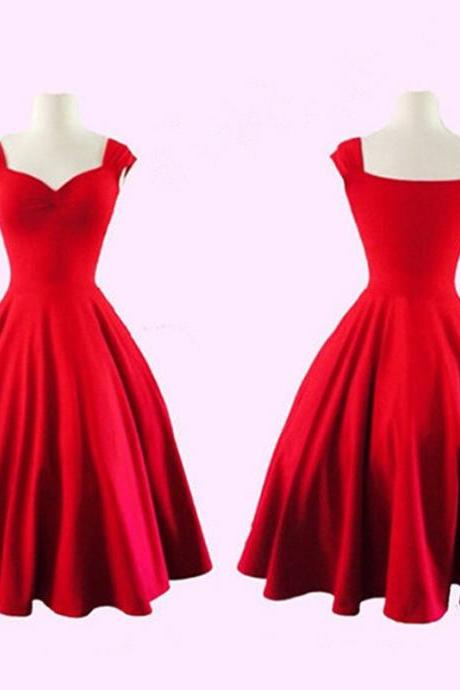 Audrey Hepburn Style Vintage Retro Dresses in Black and Red