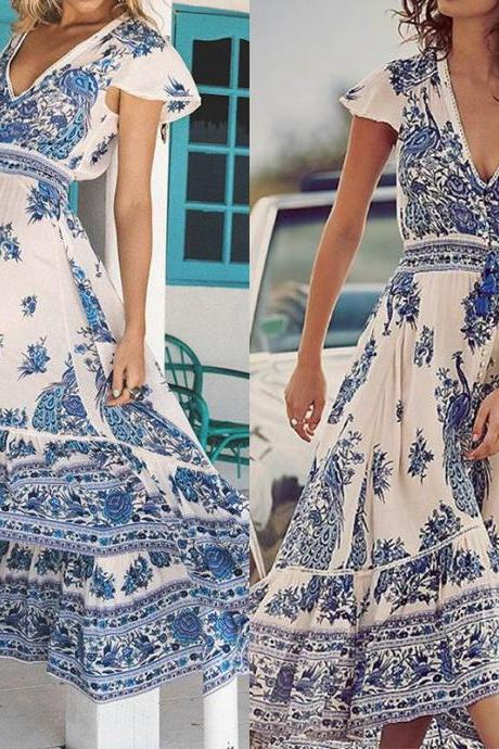 Deep V Neck Printed Bohemian Summer Beach Maxi Dress