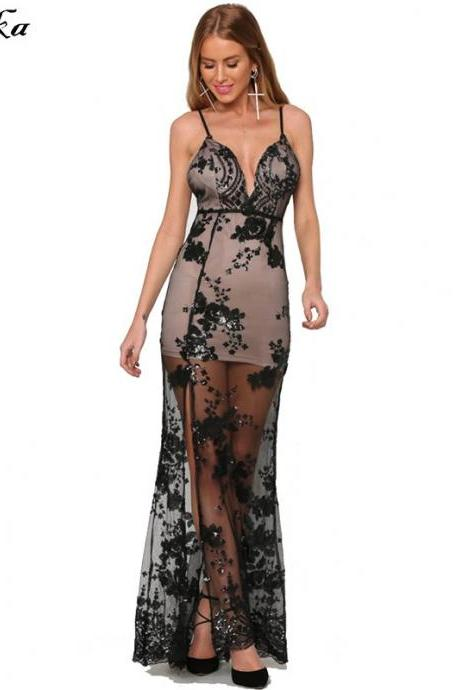 Sexy Black Sequined Lace Long Party Dress