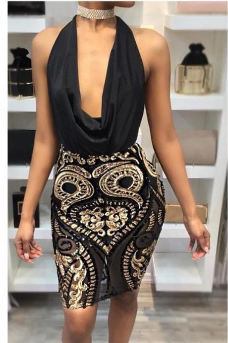 Black Bodycon V Neck Sequins Party Dress
