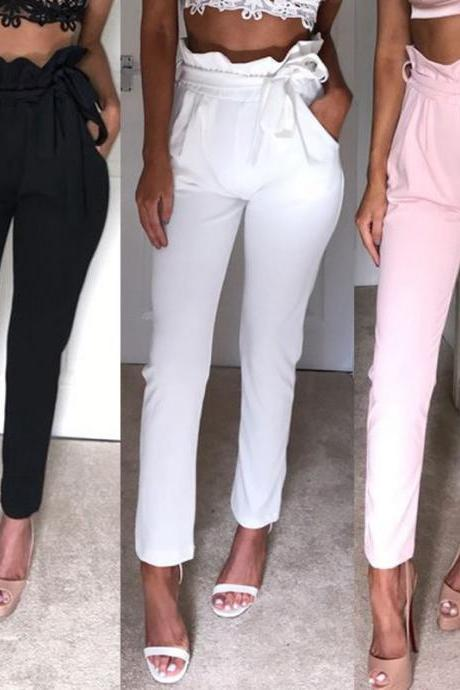 Stretchy High Waist Chic Skinny Pants in Black Pink and White