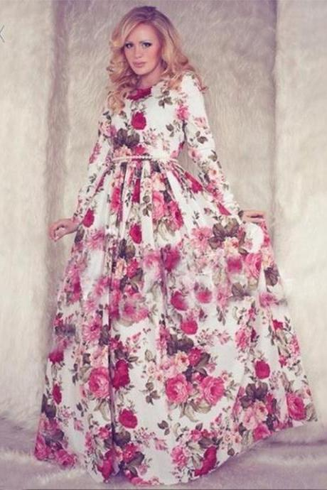 Beautiful Long Sleeve Floral Print Maxi Dress