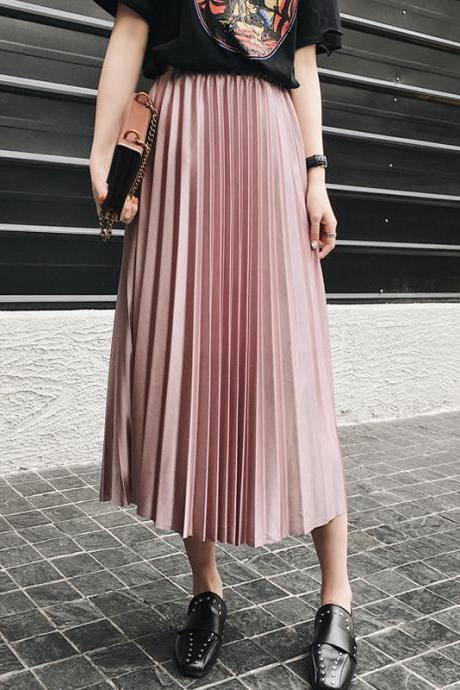Chic Pleated Satin Maxi Skirts in Black and Pink