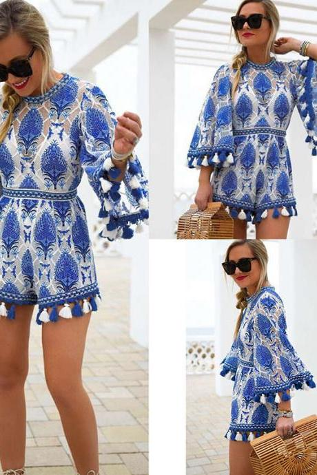Chic Blue Tassel Lace Embroidery Romper