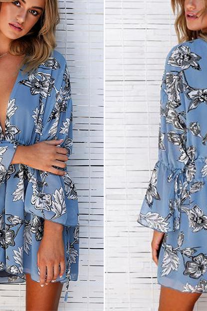 Deep V Neck Long Sleeve Blue Backless Boho Printed Romper