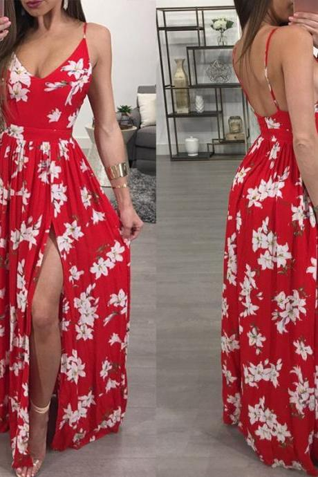 Elegant Red Floral Print Long Dress with Slit
