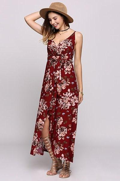 Sexy V Neck Spaghetti Strap Bohemian Long Summer Dress