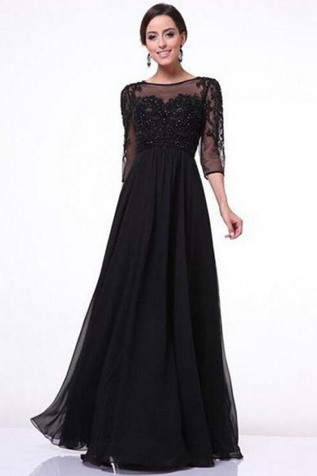 Summer Elegant Lace Mesh Patchwork Evening Black Prom Dress
