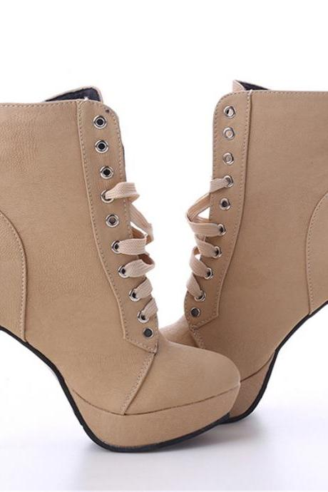 Autumn and Winter Apricot High Heels Ankle Boots