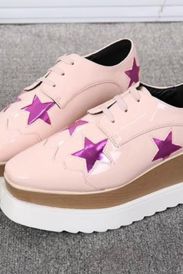 Patent Leather Skater Shoes with Metallic Star Designs