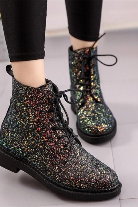 Beautiful Glitter Lace up Boots
