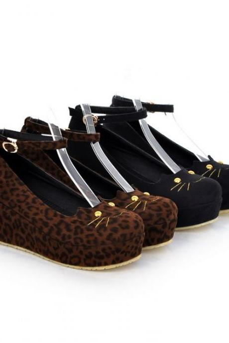 Cute Cat Wedge Shoes
