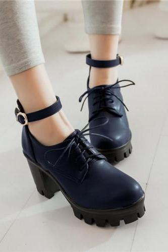Gothic Retro Chunky Heels Lace up Fashion High Heels Shoes