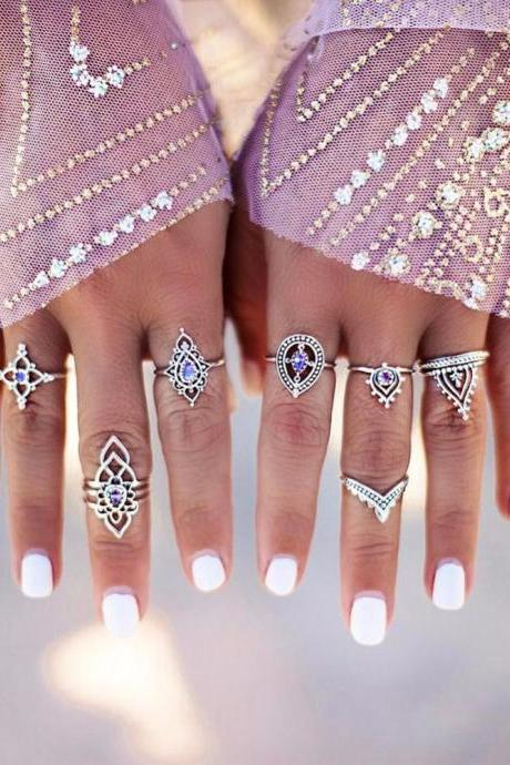 10 Pieces Bohemian Vintage Gold and Silver Tribal Rings
