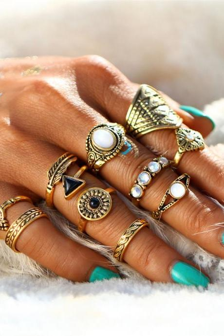 10 Pieces Set Vintage Bohemian Midi Ring Sets