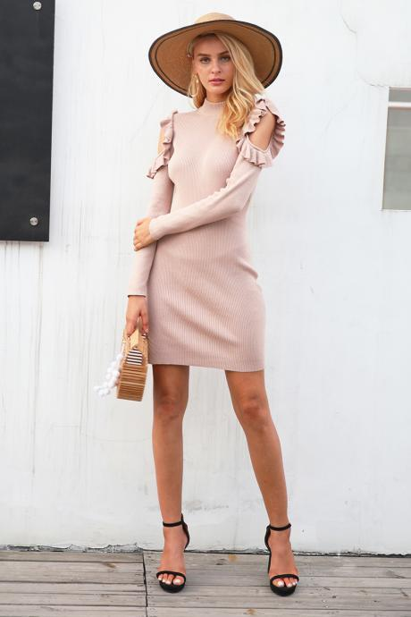 Ruffled Sleeve Knitted Elegant long Sleeve Dress
