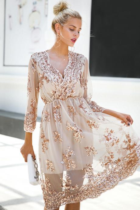 Long Sleeve V Neck Sequined Lace Party Dress
