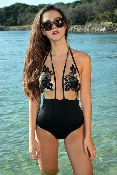 Sexy Lace Embroidery Black Bodysuit and Jumpsuit