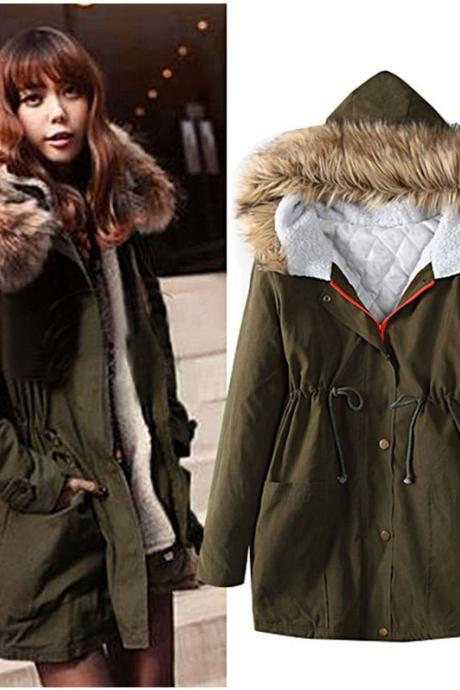 Autumn and Winter Warm Hooded Jacket Coat