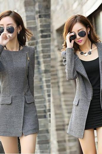 Cashmere Woolen Winter Coat in Black and Grey